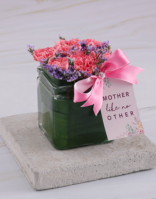 carnation: Like No Other Carnations in Square Vase!