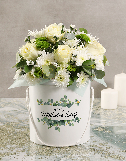 colour: Mothers Day Floral Mix White Hat Box!