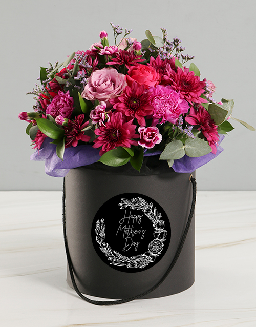 colour: Mothers Day Pink Floral Mix Black Hat Box!