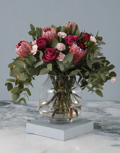 mothers-day: Pastel Pink Mixed Flower Mothers Day Vase!