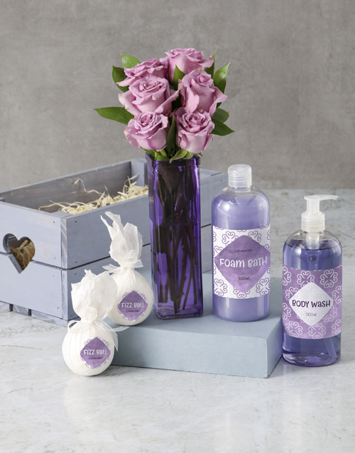 roses: Pretty Purple Rose and Luxury Bath Gift!