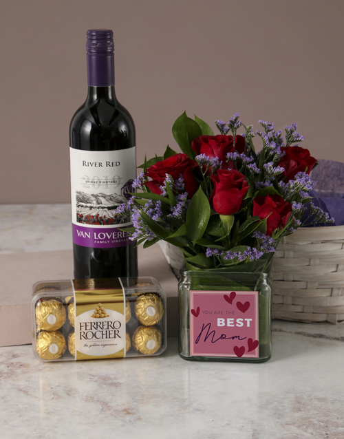 colour: Red Roses Mothers Day Basket!