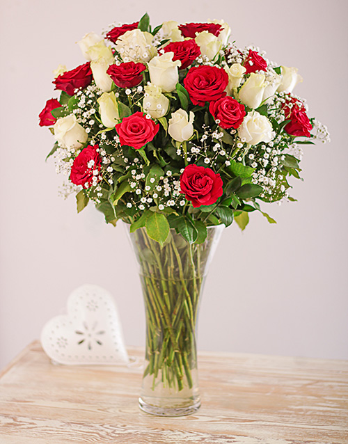 roses: Vase of Red and White Roses!