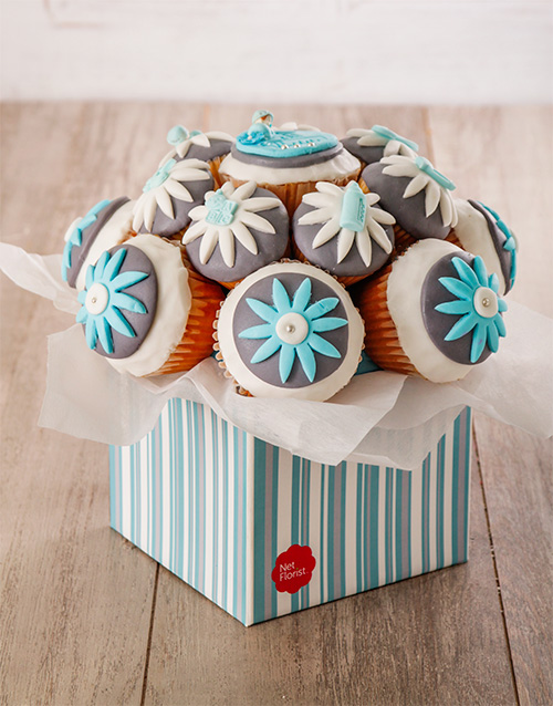 bakery: Welcome Baby Boy Cupcake Bouquet!