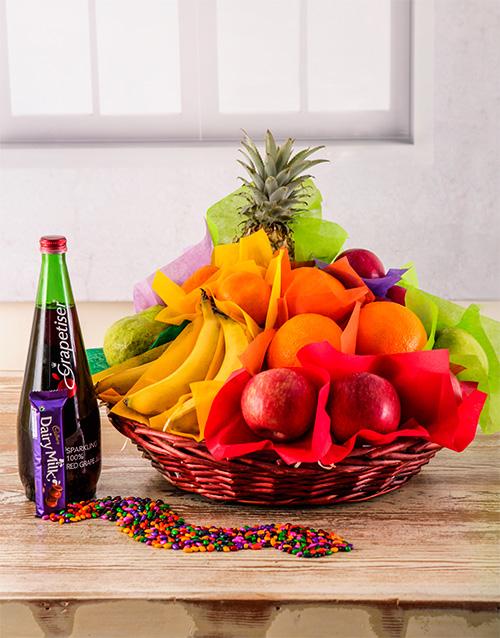 birthday: Seasonal Fruit and Sparkling Juice gift Basket!