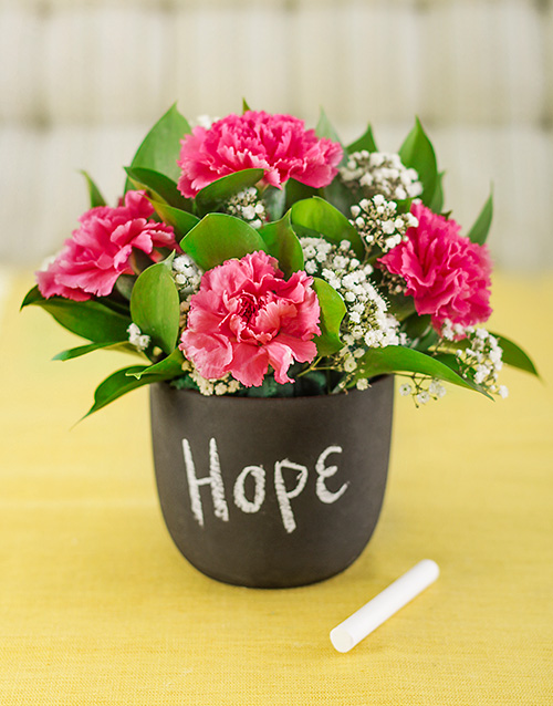 pottery: Pink Carnations in a Chalkboard Vase!