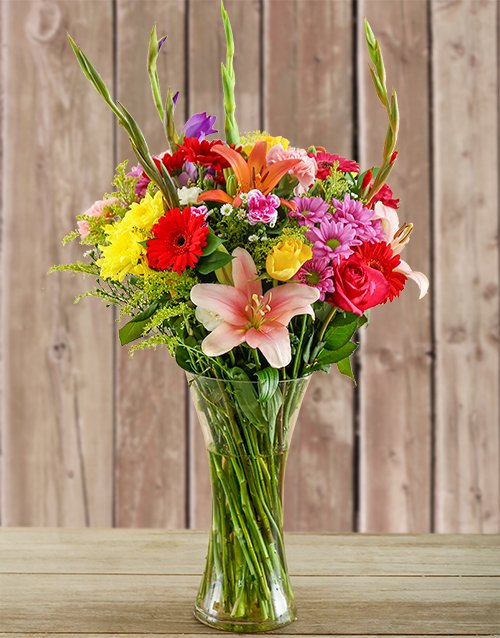 birthday: Glass Vase of Colourful Flowers!