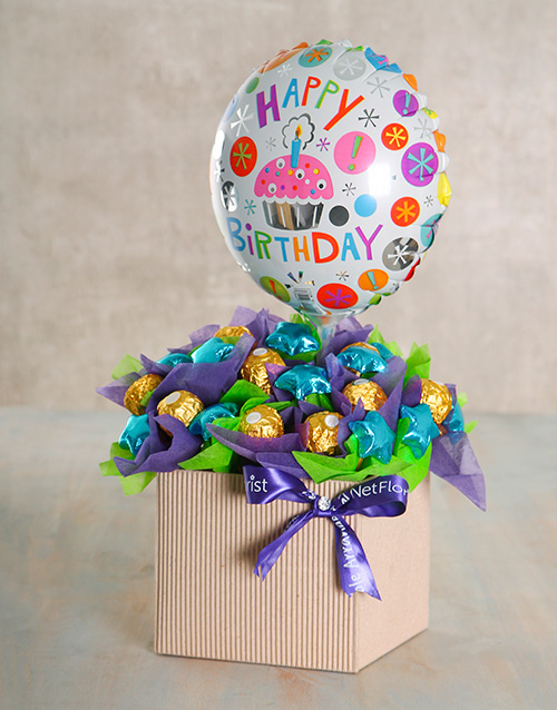 flowers: Happy Birthday Balloon Edible Box!