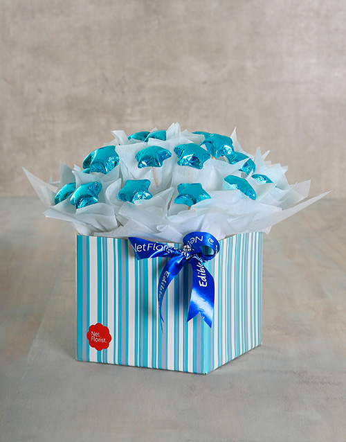 edible-chocolate-arrangements: Turquoise Star Edible Arrangement!