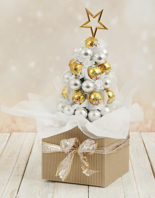 edible-chocolate-arrangements: Golden Lindt Edible Christmas Tree!