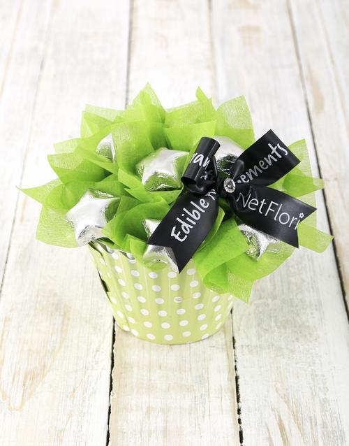 edible-chocolate-arrangements: Silver Star Cupcake Arrangement!