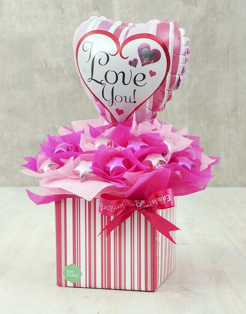 edible-chocolate-arrangements: Pink & Silver Love Edible Arrangement!