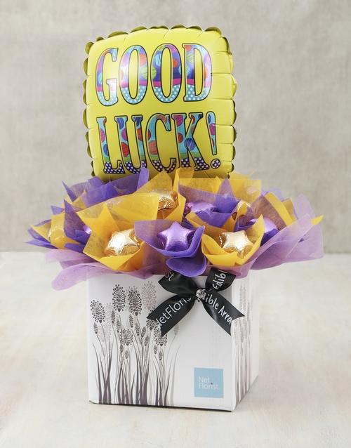 balloon: Purple & Gold Good Luck Edible Arrangement!