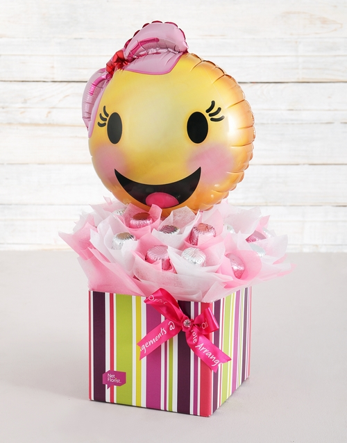 balloon: Happy Emoticon Caramel Heart Arrangement!