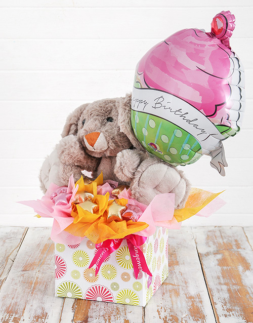 edible-chocolate-arrangements: Rabbit Choc Stars and Birthday Balloon Box!