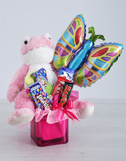 balloon: Pink Frog Chocolate and Butterfly Balloon Gift!