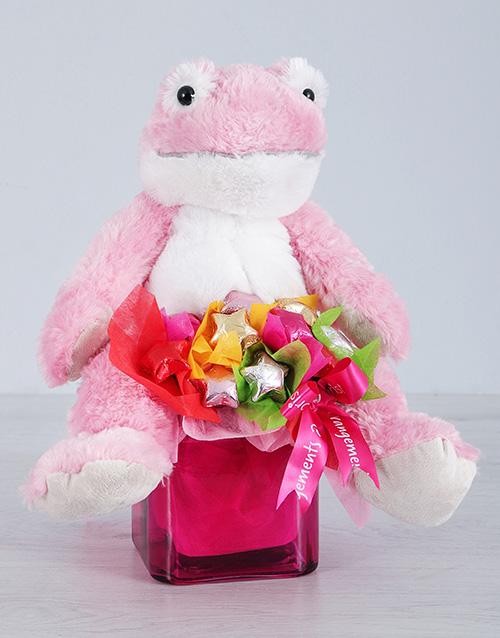 chocolate: Pink Froggy Choc Star Vase!