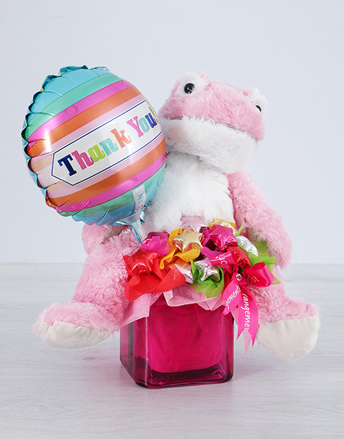 balloon: Pink Froggy Choc Star and Thank You Balloon Vase!