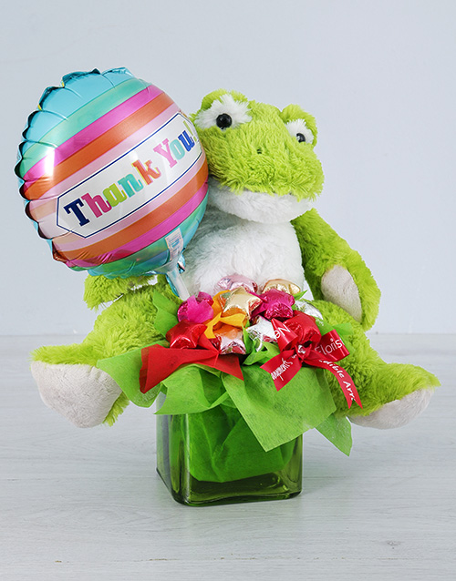 edible-chocolate-arrangements: Green Froggy Choc Star and Thank You Balloon Vase!