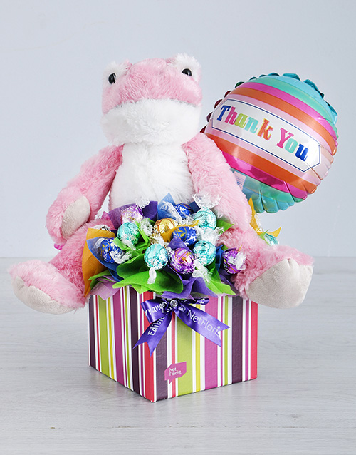 teddy-bears: Pink Froggy Lindt and Thank You Balloon Box!