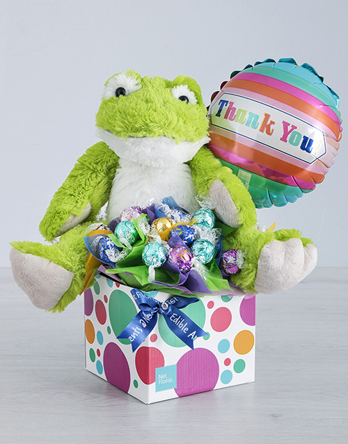 edible-chocolate-arrangements: Green Froggy Lindt and Thank You Balloon Box!