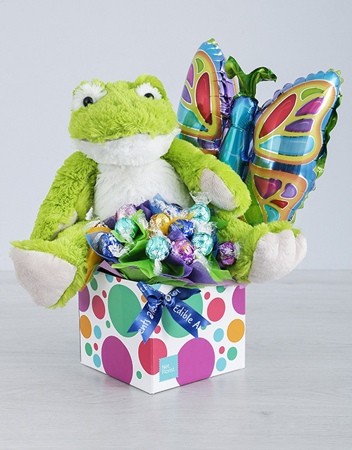 teddy-bears: Green Froggy Lindt and Butterfly Balloon Box!