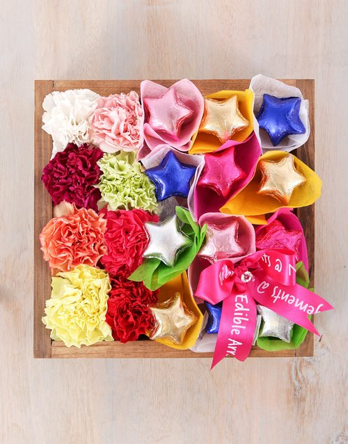 christmas: Mixed Carnations and Chocolate Star Crate!