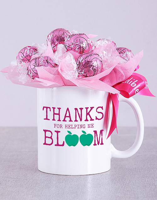 flowers: Bloom Pink Lindt Mug Arrangement!