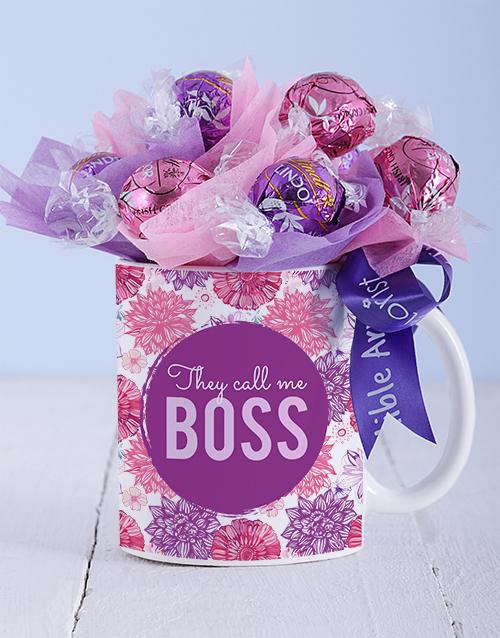edible-chocolate-arrangements: Call Me Boss Lindt Mug Arrangement!