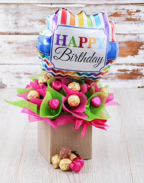 birthday: Pretty In Pink And Green Edible Arrangement!