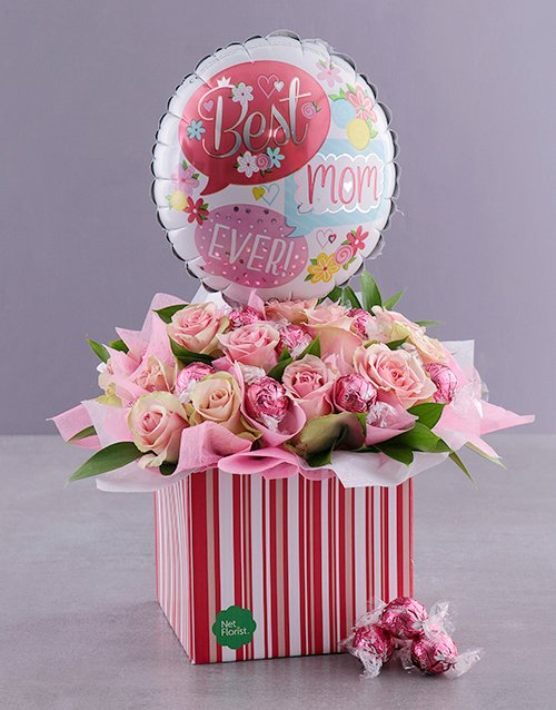 flowers: Mom Rose And Balloon Gift Box!