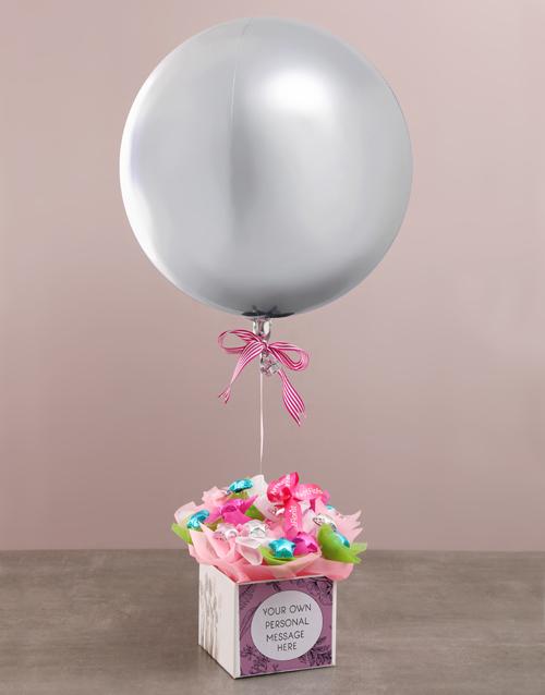 birthday: Personalised Silver Balloon Edible Arrangement!