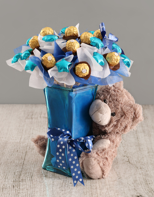 chocolate: Blue Chocolate Bouquet with Bear!