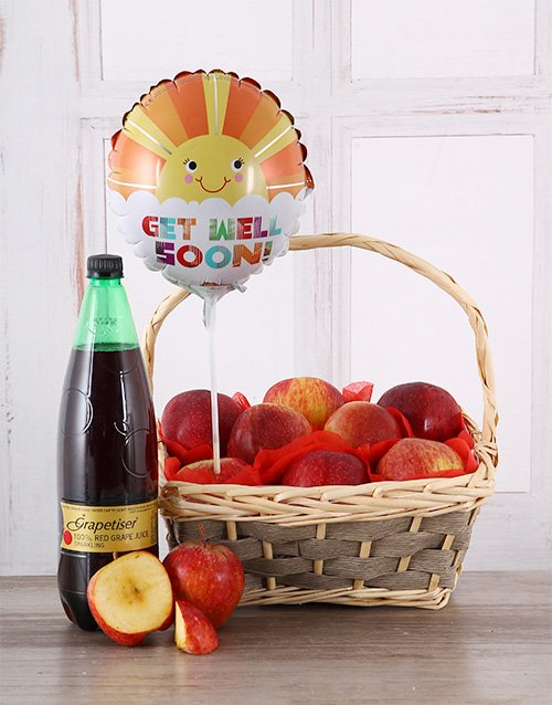 gourmet: Get Well Soon Red Apple Basket!