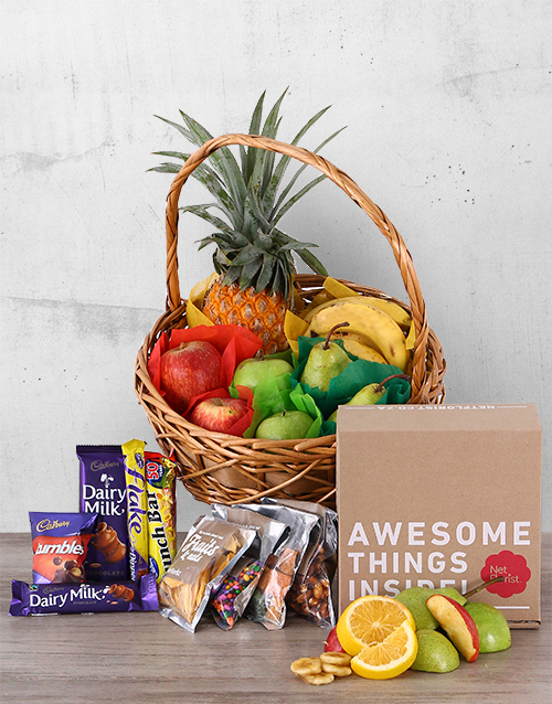basket: Fruity Snack and Chocolate Basket!