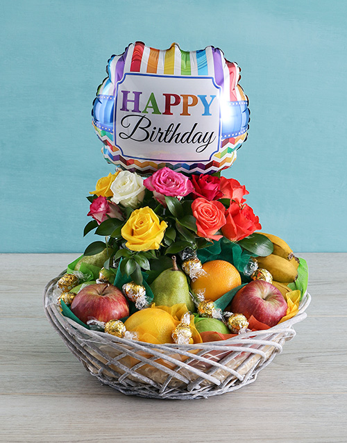 congratulations: Happy Birthday Rose and Fruit Basket!