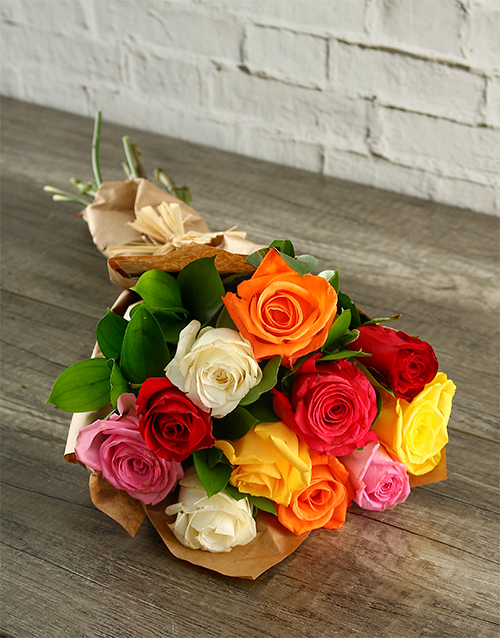 best-sellers: Mixed Roses in Craft Paper!