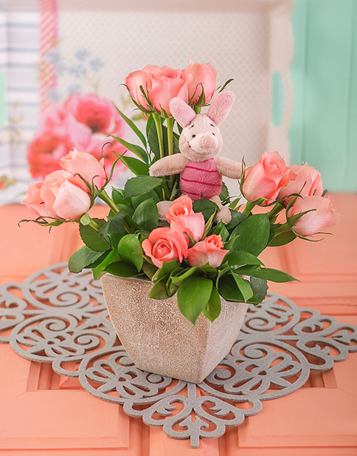 flowers: Pink Rose Arrangement with Piglet!
