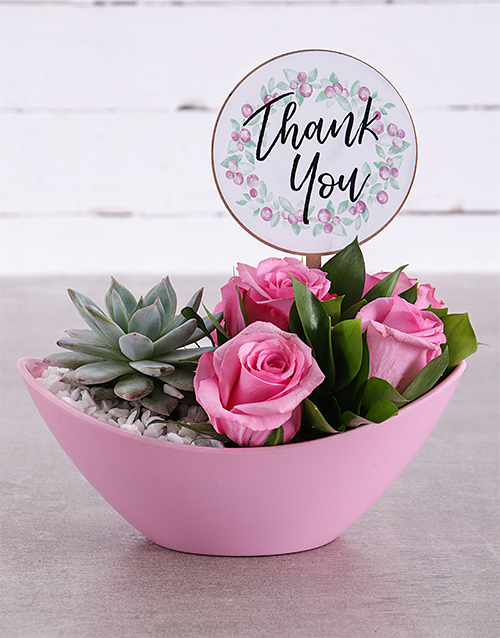 secretarys-day: Thank You Succulent and Rose Arrangement!