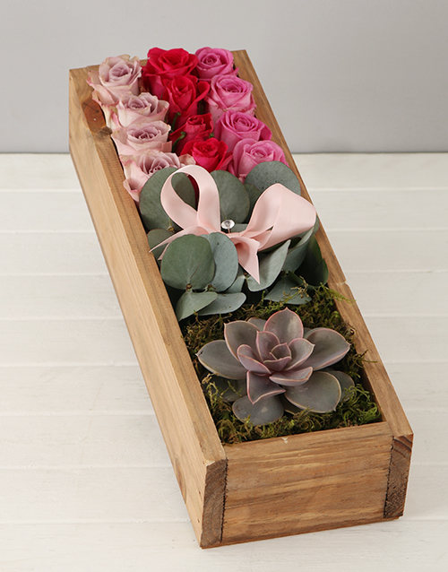 flowers: Rosy Succulent Crate!