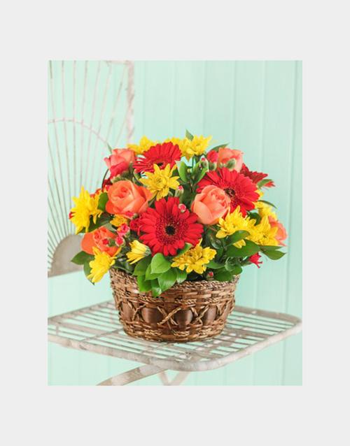 basket: Seasonal Flowers in a Country Basket!
