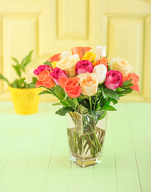 vase: Vase of Assorted Roses!