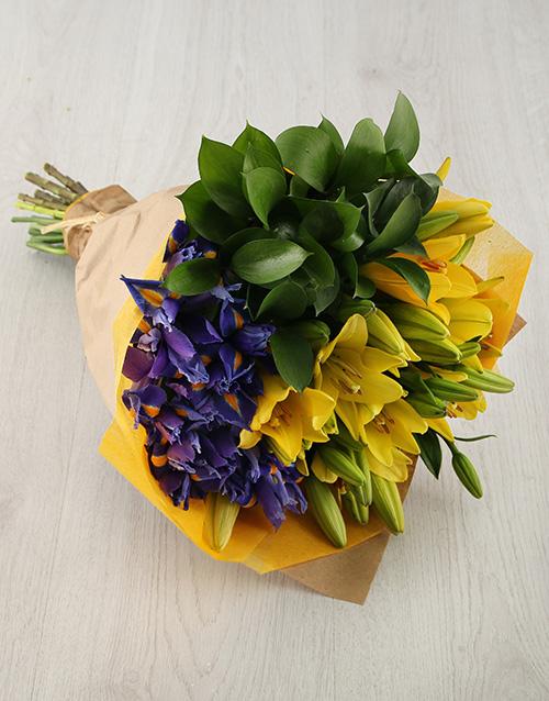 anniversary: Iris and Lily Arrangement!