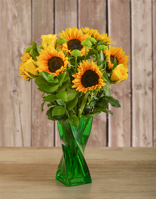 anniversary: Roses & Sunflowers in a Green Twisty Vase!