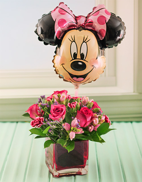 coloured-vases: Pink Roses in a pink vase with Minnie Balloon!