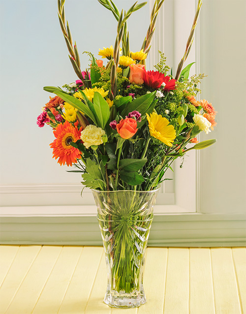 crystal-vases: Bright Mixed Flowers in a Oasis Crystal Vase!