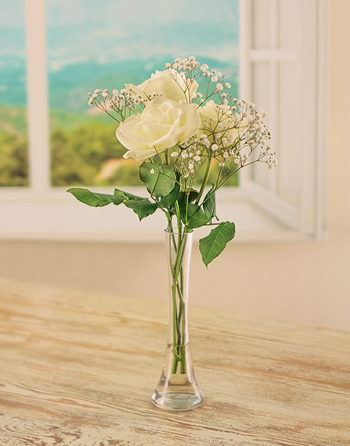 colour: 3 White Roses in a Glass Vase!