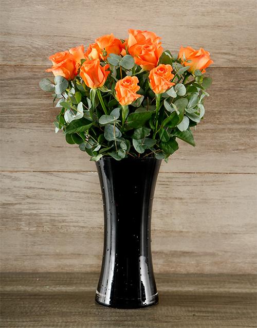 roses: Orange Roses in Black Vase!