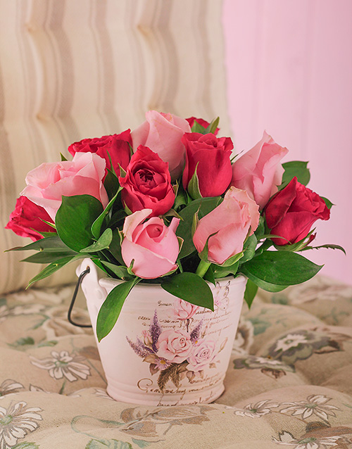 flowers: Pink Roses in a Vintage Painted Bucket!