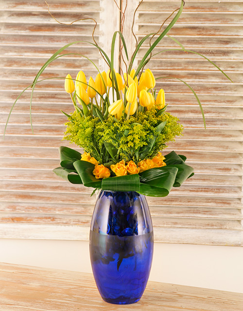 tulips: Tulip & Roses in a Blue Glass Vase!